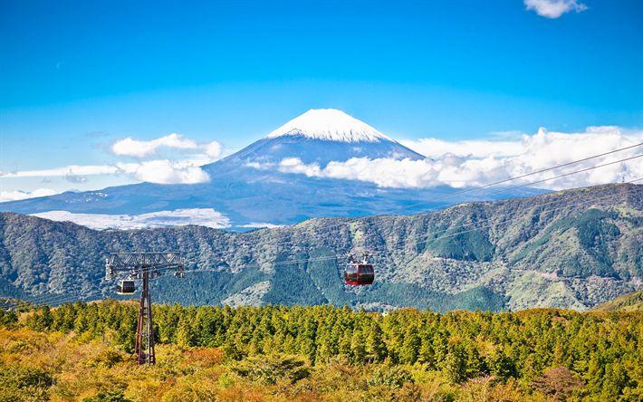 Download wallpapers Mount Fuji, stratovolcano, 4k, japanese landmarks, Hakone-Ropeway, Fujiyama, Owakudani, Hakone, Japan