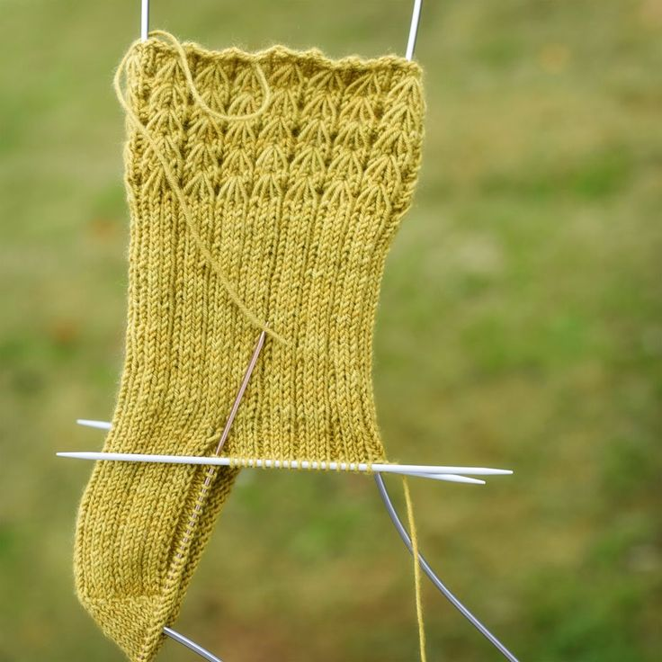 So this is what it looks like as you're knitting it, but when you wear it, you first flip it inside out and then turn down the cuff...