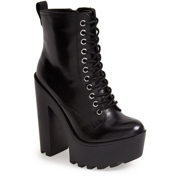 Women's Steve Madden 'Globaal' Platform Boot featuring polyvore fashion shoes boots heels heel boots steve-madden shoes short heel boots short lace up boots ankle boots
