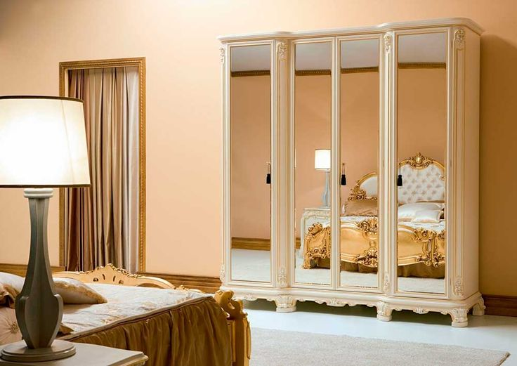 Large Modern Bedroom Cupboards with glasses material and lamp