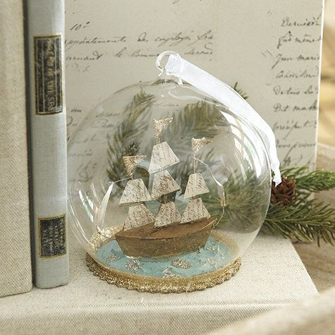 The perfect gift for anyone who loves to sail or dreams of the sea. Tiny ship is rigged with three parchment sails crowned with glittering golden flags and surrounded by sparkling blue acrylic water. Made entirely by hand, the romantic scene is encased in protective clear glass.