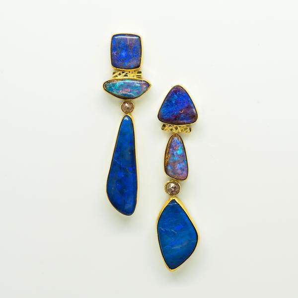Jennifer Kalled Australian Boulder Opal Earrings Australian Opal