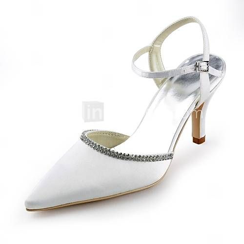 Satin Women's Wedding Stiletto Heel Pumps with Rhinestone Shoes(More Colors) - EUR € 36.35