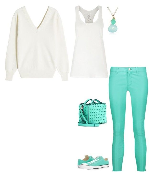 """""""FW D LEATHER JEANS, TANK TOP, SWEATER, SNEAKERS - WHITE, AQUA"""" by laliquemurano on Polyvore featuring Amanda Wakeley, J Brand, Victoria Beckham, Converse, Tod's and Melissa Joy Manning"""