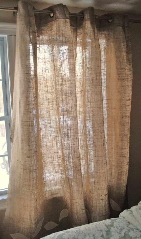 burlap curtains, making for my dining room today : )