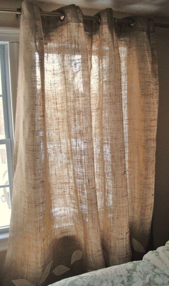 cortinas de arpillera o de saco etsy.com