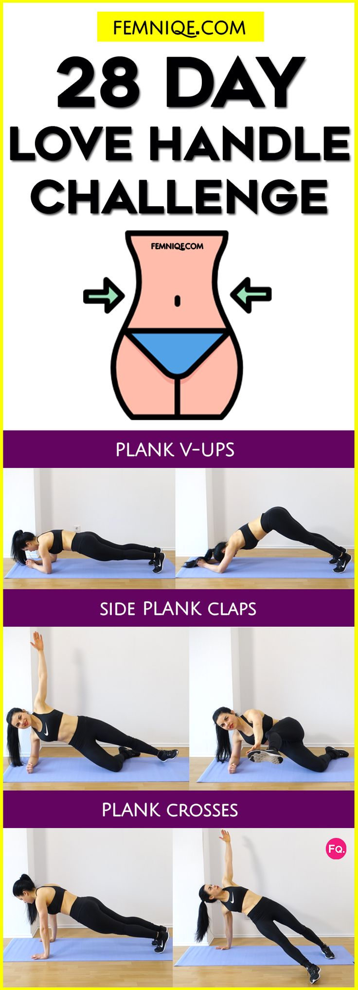How To Get Rid of Love Handles (28 Day Plan) - If you want those love handles then, you should try this 28 day challenge. It perfect for those who want to get a smaller waist and shred excess lose muffin top!