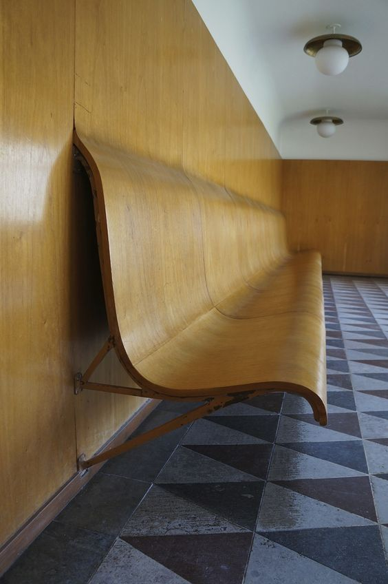 Built-in integrated bench at Woodland Cemetery in Stockholm, Sweden by Gunnar Asplund.
