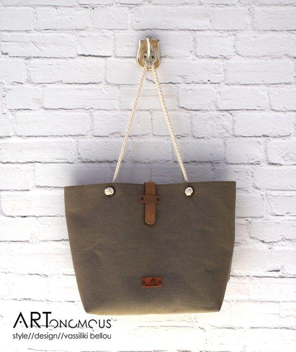 Χακί τσάντα θαλάσσης // artonomous.gr
