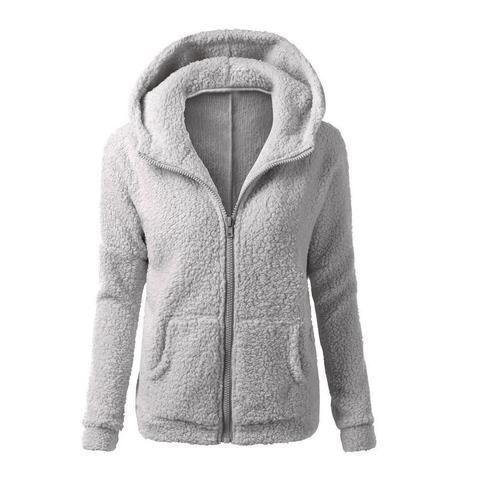 Women warm Fleece thick Zipper pocket Hoodie Sweatshirt overcoat outwear Coats