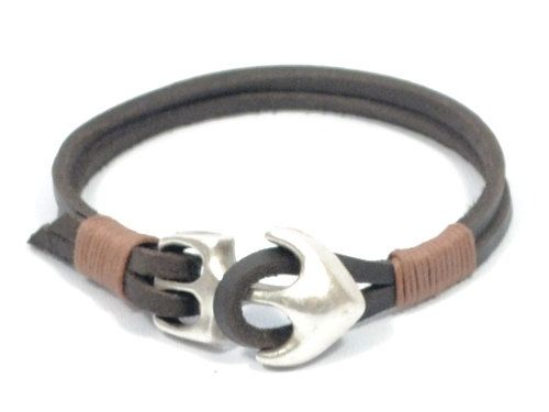 leather bracelet with anchor  mens anchor bracelet  by CozyDetailz