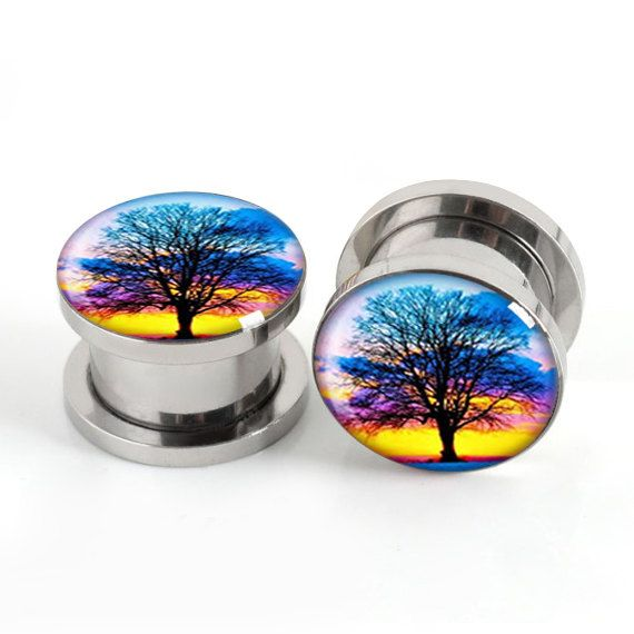 SunSet Tree Plugs, Steel Pairs Screw Flesh Tunnels, Custom image ,size, Men Women Body Piercing $13.88