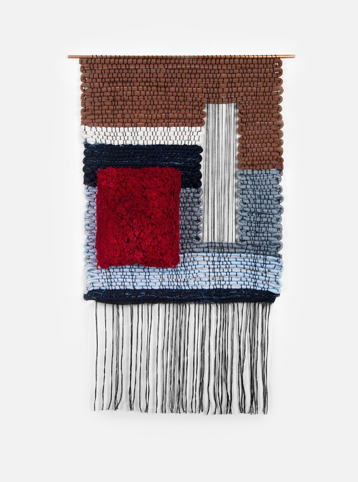 """Hand woven by Mimi Jung of Brook & Lyn.  Part of a series of weavings commissioned by Levi's. Woven with denim scraps from the Levi's San Francisco tailor shop. Denim and cotton yarn on copper rods.  Levi's Red 17.5"""" x 30"""", Rod 19"""" x 30"""""""