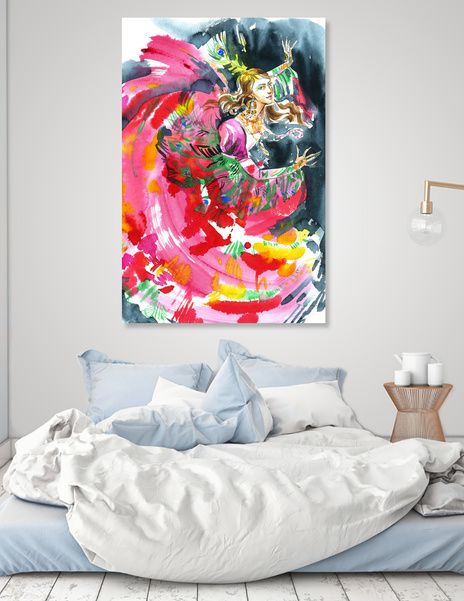 Discover «A dancing girl in a firebird suit», Numbered Edition Canvas Print by Irina Ivanova - From $49 - Curioos