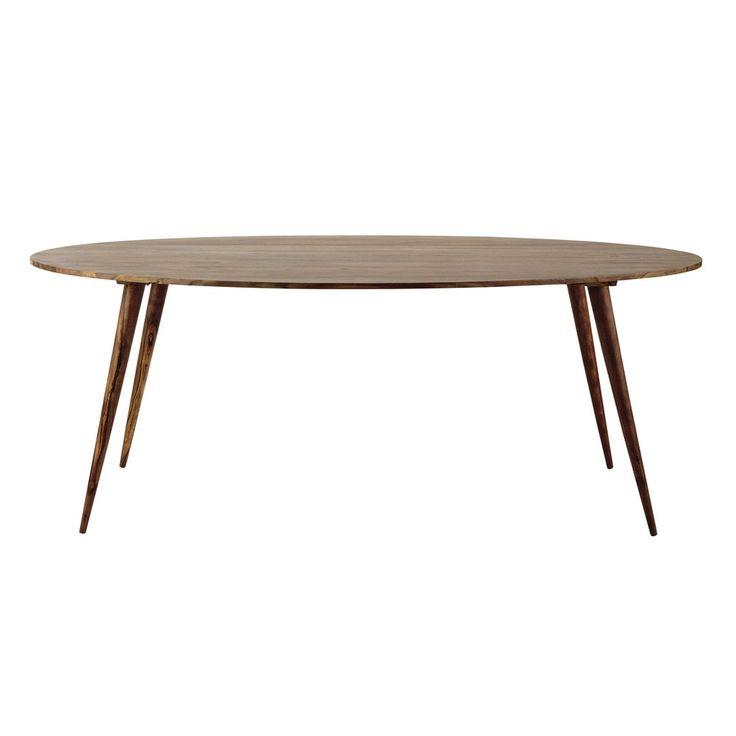 Ovaler Esstisch aus massivem Sheeshamholz, B 200cm