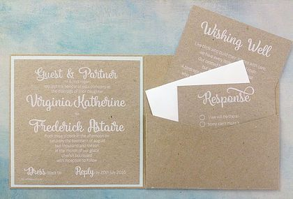 Mint Julep Invitation Suite: Rustic earthy tones complemented with stunning white ink printing on 100% recycled Botany Naturaliste card, fun & quirky font, offset with subtle mint notes