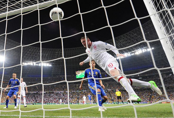 English forward Wayne Rooney scores during a Group D match between England and Ukraine on June 19 at the Donbass Arena in Donetsk during the Euro 2012 soccer championships.