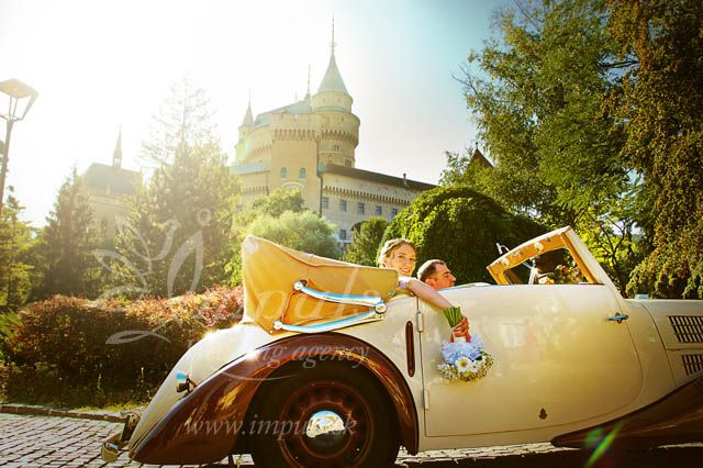 Stylish and detailed #small #castle #wedding at Bojnice castle, Slovakia from autumn 2013. International audience, ceremony and dinner harp player, stylish oldtimer, only vegetarian menu - very jummy :) and many other details made this wedding unforgetable experience.