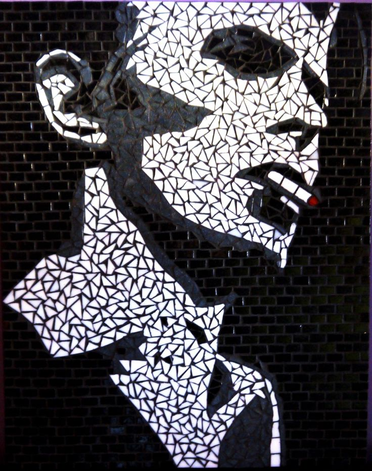 Stencil portrait of David Bowie. Handmade glass mosaic design art  55x45 cm