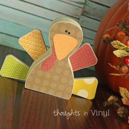 wooden Turkey  |  Thought in Vinyl On Sale for only $7.50.   Great for Super Saturday Crafts