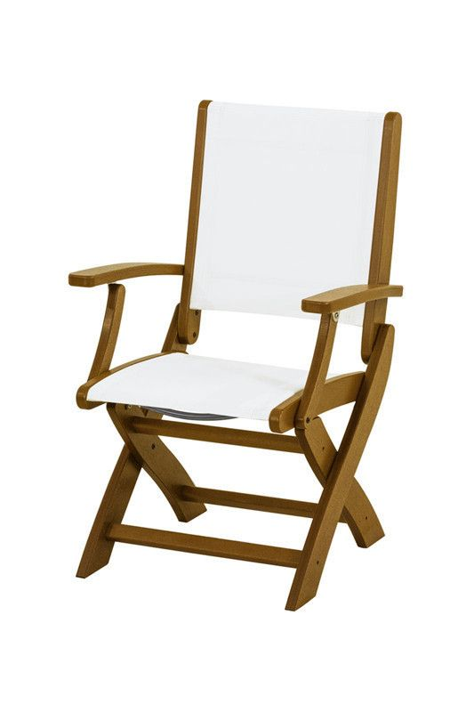 Polywood 9000-TE901 Coastal Folding Chair in Teak / White Sling