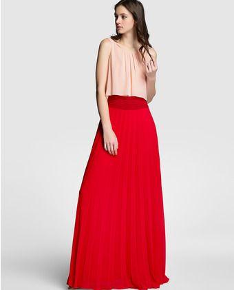 Vestido bicolor de mujer Tintoretto con falda plisada