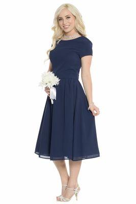 2dfdbc2483 Lucy Modest Bridesmaid or Semi-Formal Dress in Dark Navy Blue ...