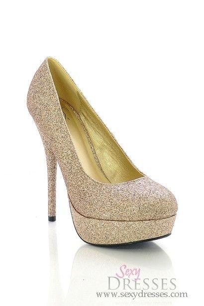 Enchanting Glittery Gold High Heel Platform Pumps - NEED.