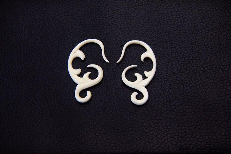12g Spiral Gauge Bone Earring Double Carved Tribal Plugs Gauges 2mm or 12 Gauge Piercing Plug BG006 #BaliTribalJewelry