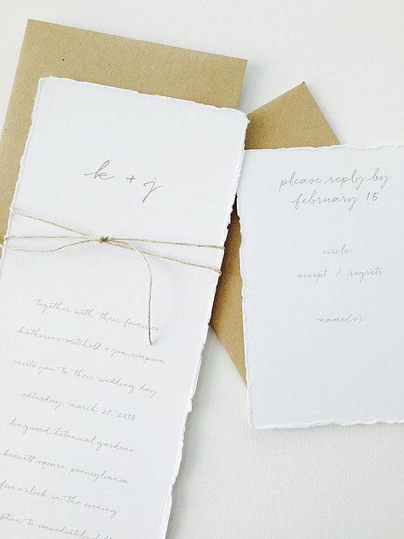 Katherine Wedding Invitation Sample / Kraft Wedding Invitation / Rustic / Simple / Minimalist Invite / Hand Torn Paper / Deckled Edges