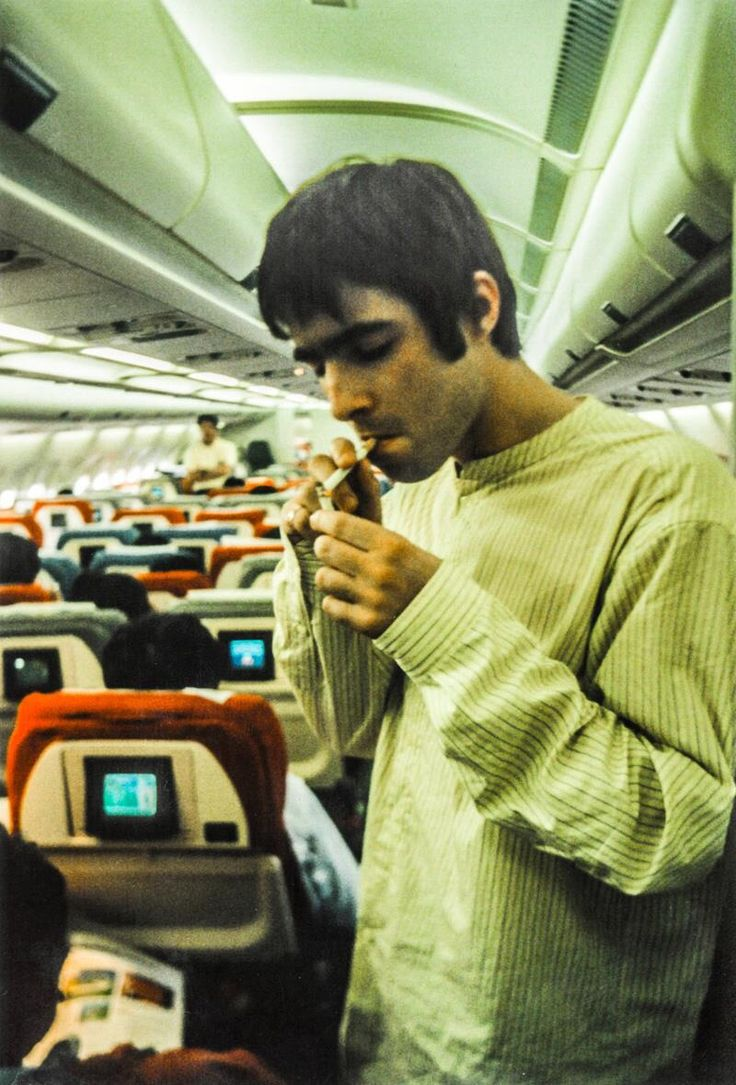 Liam Gallagher on a plane to Tokyo, 1995