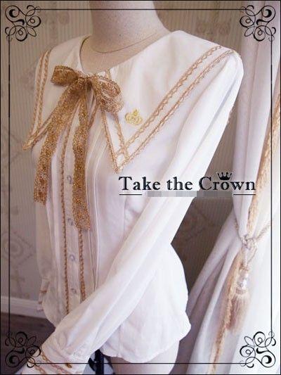 R-Series***Take The Crown***College Style Lolita White Blouse