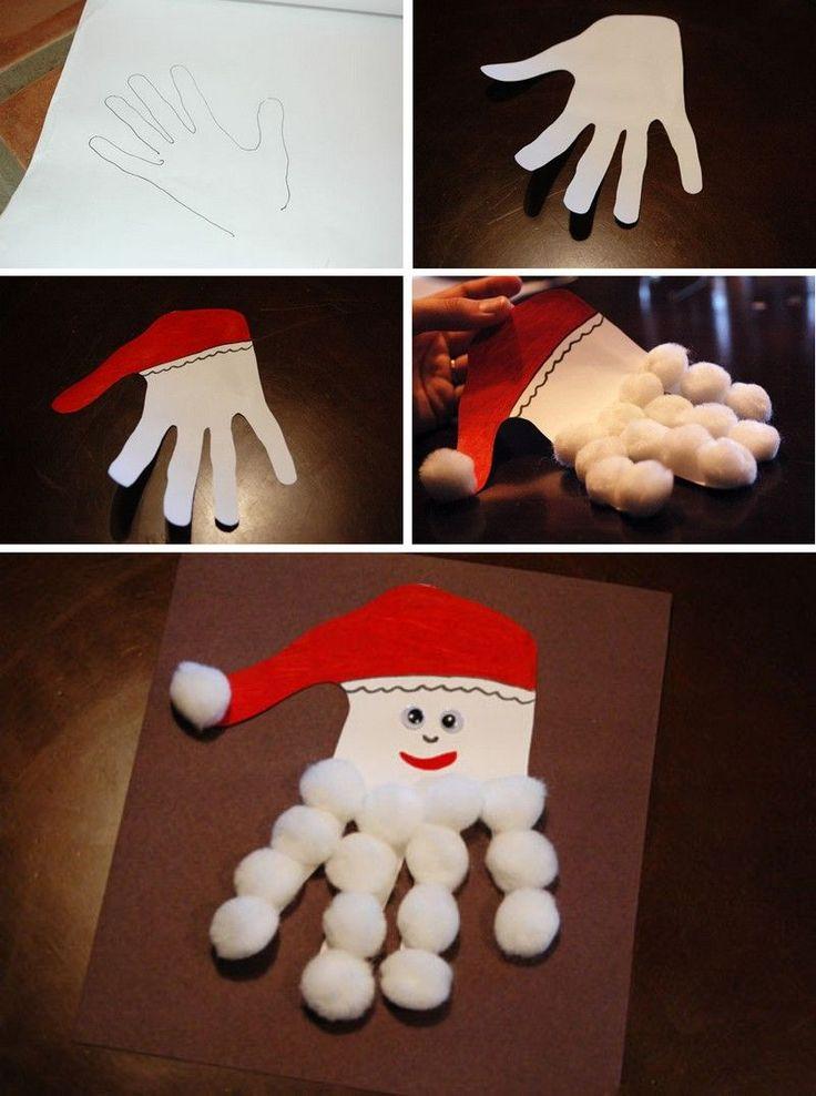 bricolage Noël enfant - empreinte de main d'enfant décorée de peinture blanche et rouge, boules de coton et yeux décoratifs
