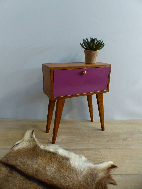 Ancien chevet compas bout de canapé selette guéridon midcentury violet Antique bedside compass sofa end table pedestal midcentury