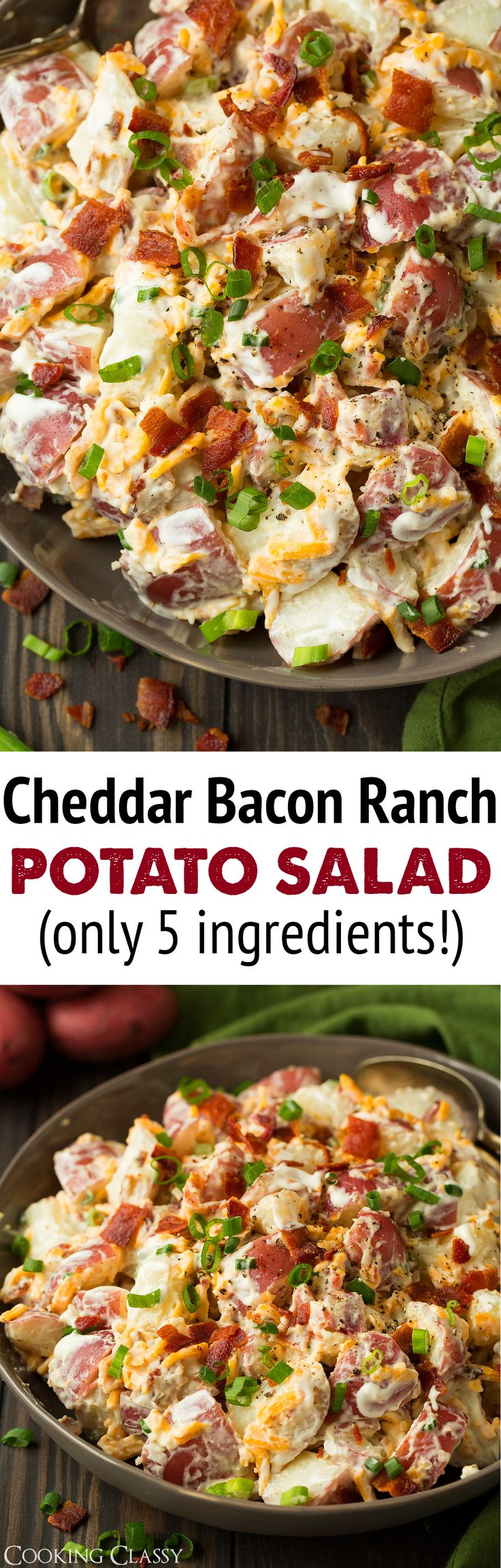 Every now and then, I love to splurge a little and have something deliciously satisfying and perfectly comforting, like this simple and hearty Cheddar Bacon Ranch Potato Salad! This potato salad only takes 5