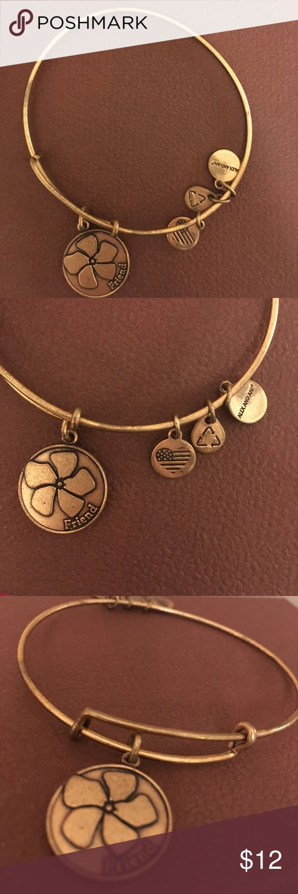 Alex And Ani Friend bracelet Never worn Alex and Ani friend bracelet. Retails for $24. Expandable wire bangle bracelet featuring oval shaped friend charm and three smaller charms. Alex & Ani Jewelry Bracelets