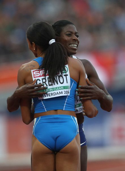 Libania Grenot of Italy is congratulated by Christine Ohuruogu of Great Britain following the final of the womens 400m on day three of The 23rd European Athletics Championships at Olympic Stadium on July 8, 2016 in Amsterdam, Netherlands.
