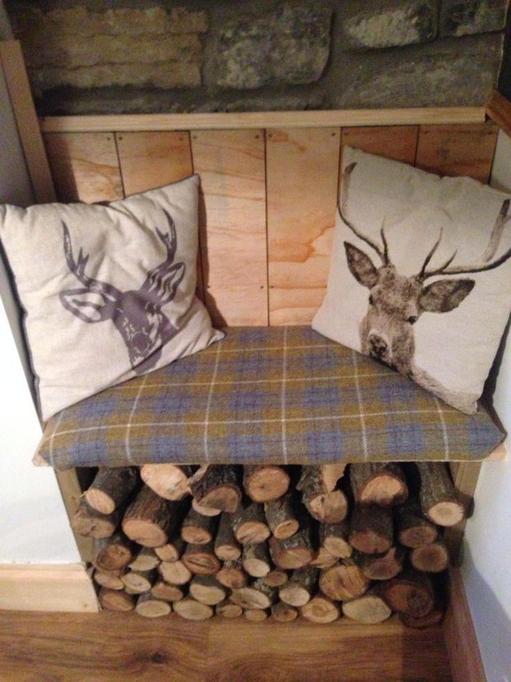 My hunter lodge inspired harris tweed alcove seat! #Homemade #diy #diningroom