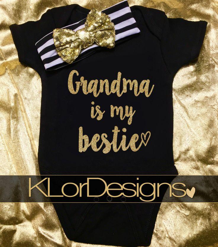 Oma ist mein Bestie, Oma Geschenk, Baby Mädchen Oma, Baby Ankündigung, Baby Mädchen Outfit, Omas Mädchen, neue Oma, Nana Bestie   – Baby Clothes