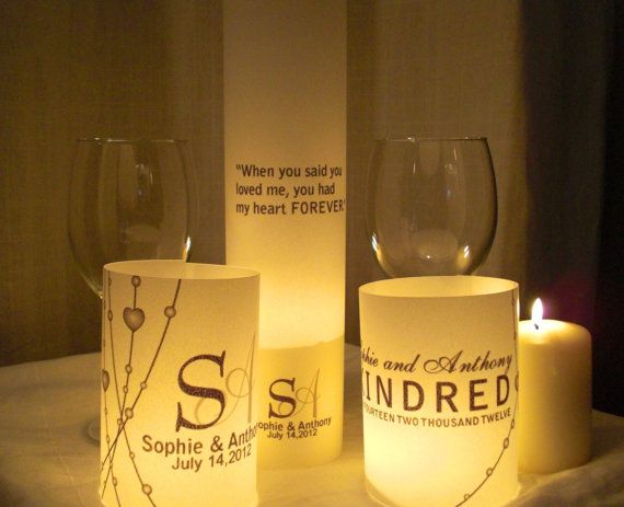 Handmade vellum luminary centerpiece wedding signs quotes