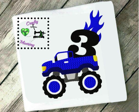 Third Birthday Boy Embroidery Design, Boys Birthday Embroidery Pattern, Monster Truck Birthday Embroidery Design, Blue Monster Truck, Boys by CraftyHooahMommy on Etsy