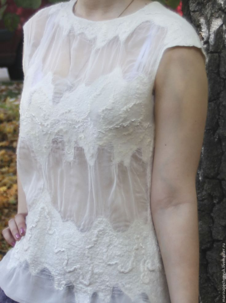 """Купить Валяная блузка """"Облака"""" - блузка из шелка и шерсти, подарок женщине девушке"""