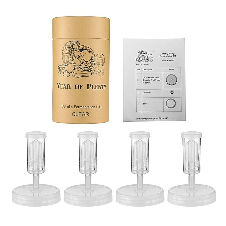 Year of Plenty Fermentation Lids for Making Sauerkraut in Wide Mouth Mason Jars, Set of 4, Includes Instructions and Recipe ... (Clear)