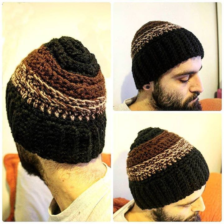 Mens crochet winter hat for cold snowy days @lsdworkshop