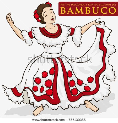 Poster with beautiful woman wearing a traditional dress ready to perform the Bambuco dance in Bambuco Pageant and Folkloric Festival (written in Spanish over the red label).