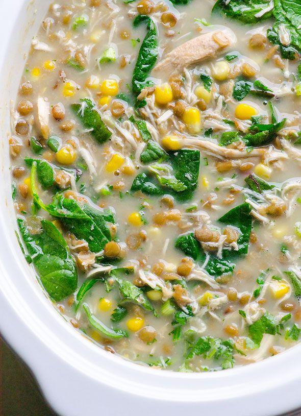 crockpot lentil corn chicken soup recipe ~ slow cooker ~ healthy
