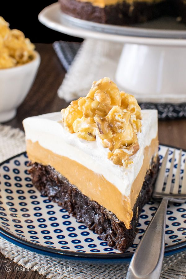 White Chocolate Caramel Mousse Brownie Cake - two layers of no bake mousse add a sweet touch to this easy fudgy brownie cake.  Great dessert recipe for anytime!
