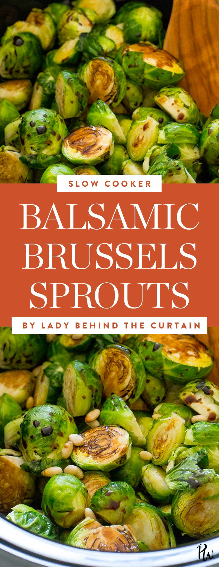 Balsamic brussels sprouts. Get this and more vegan slow cooker recipes to make now. #brusselssprouts #veganrecipes #veganslowcooker #slowcooker