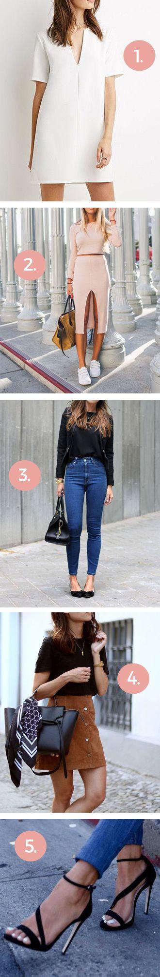 Voor petite vrouwen     1. Draag jurkjes met een V-hals, die creëren optisch meer lengte.     2. Matching top & rok   Vooral de crop top & rok zijn een uitkomst voor kleine vrouwen. Door de hoge, korte top lijken je benen langer.    3. High waist jeans   Om dezelfde reden als #2, high waist broeken creëren optisch nét die 5 cm extra.     4. Show some skin   Je bent immers 'kort', dus je kleren mogen ook kort zijn. :-)    5. Draag hakken!