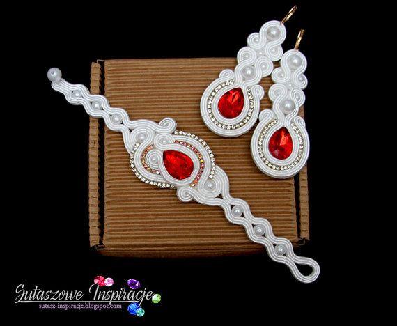 White red earings bracelet Souatche bridal от SutaszoweInspiracje